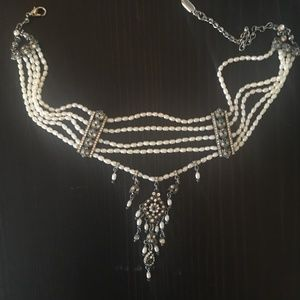 Ben-Amun Pearl and Crystal 5-strand Choker